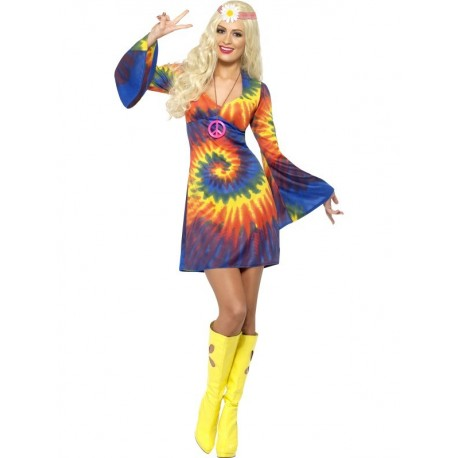 Disfraz de Mujer Hippie con Tinte Desigual