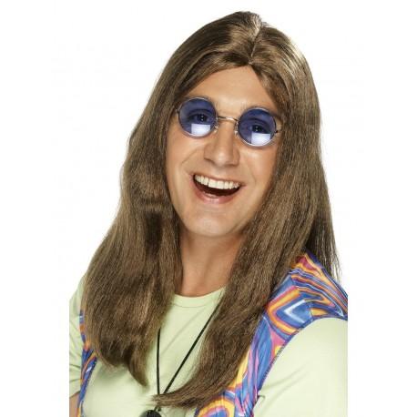 Peluca Morena Larga Para Hombre Hippie