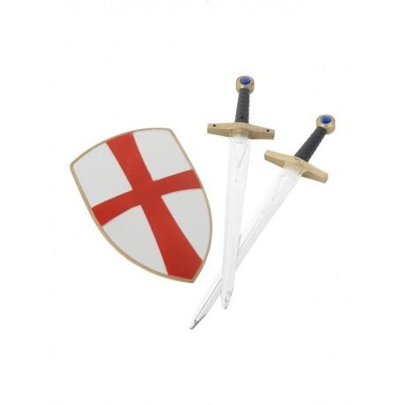 Set De Escudo Y 2 Espadas De Caballero De Las Cruzadas