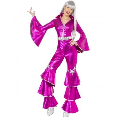 Disfraz de Bailarina de Disco Estilo Abba Rosa Eléctrico