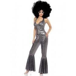 Disfraz de Diva de Discoteca Plateada