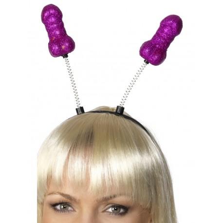 Diadema de antenas con penes de purpurina