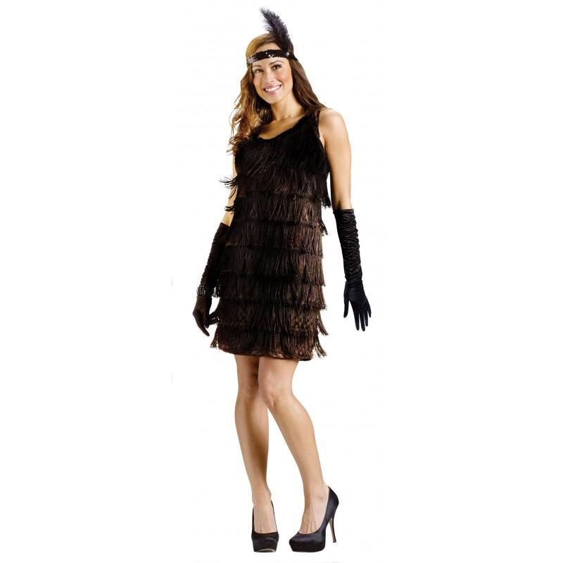 disfraz de mujer bailarina de charleston de los años 20 en negro