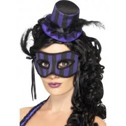 Sombrero y Máscara de Can Can Lila y Negro
