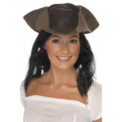 Sombrero De Pirata Marrón Estilo Piel