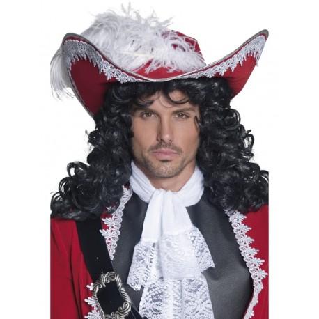 Sombrero Pirata Rojo Con Plumas