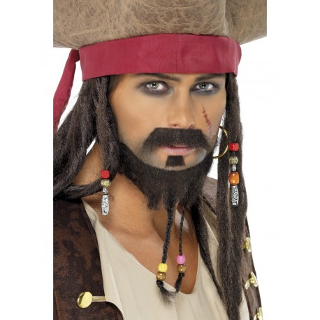 Kit De Bigote Y Barba Trenzada Marrón Para Piratas