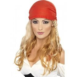Peluca De Pirata Rubia Con Bandana Roja