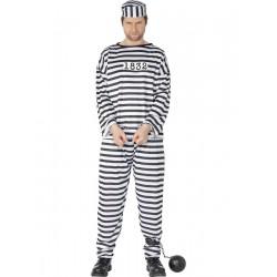 Disfraz de Convicto - Traje de Rayas Blancas y Negras