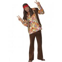 Disfraz De Hippie Psycodélico Marrón