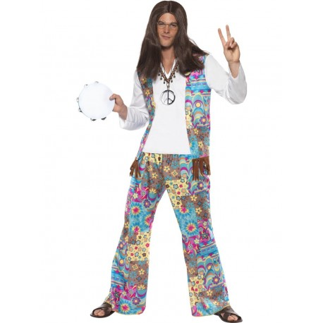 Disfraz De Hippie Groovy Con Traje De Flores
