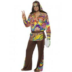 Disfraz De Hippie Psycodélico Multicolor