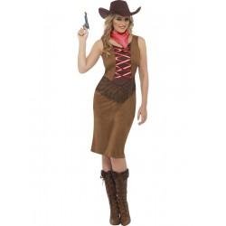 Disfraz de Vaquera con Corpiño Marrón de Flecos