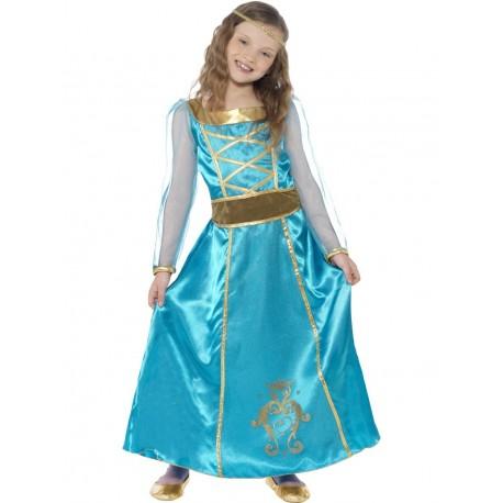 Disfraz De Princesa Medieval Azul Y Dorado Infantil