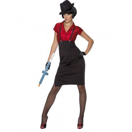 Disfraz de Mujer Gangster en Rojo y Negro
