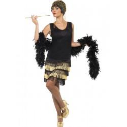 Disfraz de Años 20 Charleston Negro y Dorado