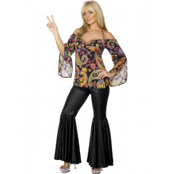 Mujer Hippie con Pantalones Negros
