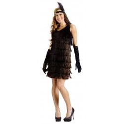 Disfraz de Bailarina de Charleston de los años 20 en negro