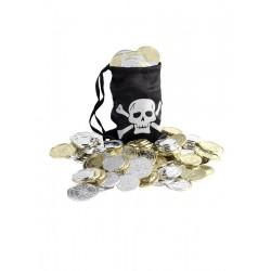 Bolsa Negra De Pirata Con Monedas