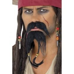 Kit De Barba Y Bigote Para Piratas Marrón