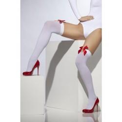 Medias Cortas Blancas Con Lazos Rojos