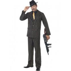 Disfraz De Gangster En Traje Negro De Rayas Doradas