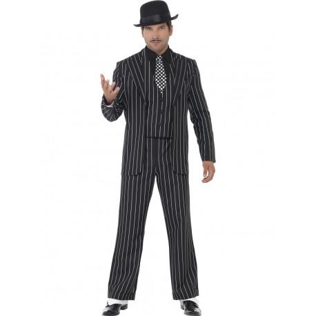 Disfraz De Gangster Vintage En Raje De Rayas Blancas